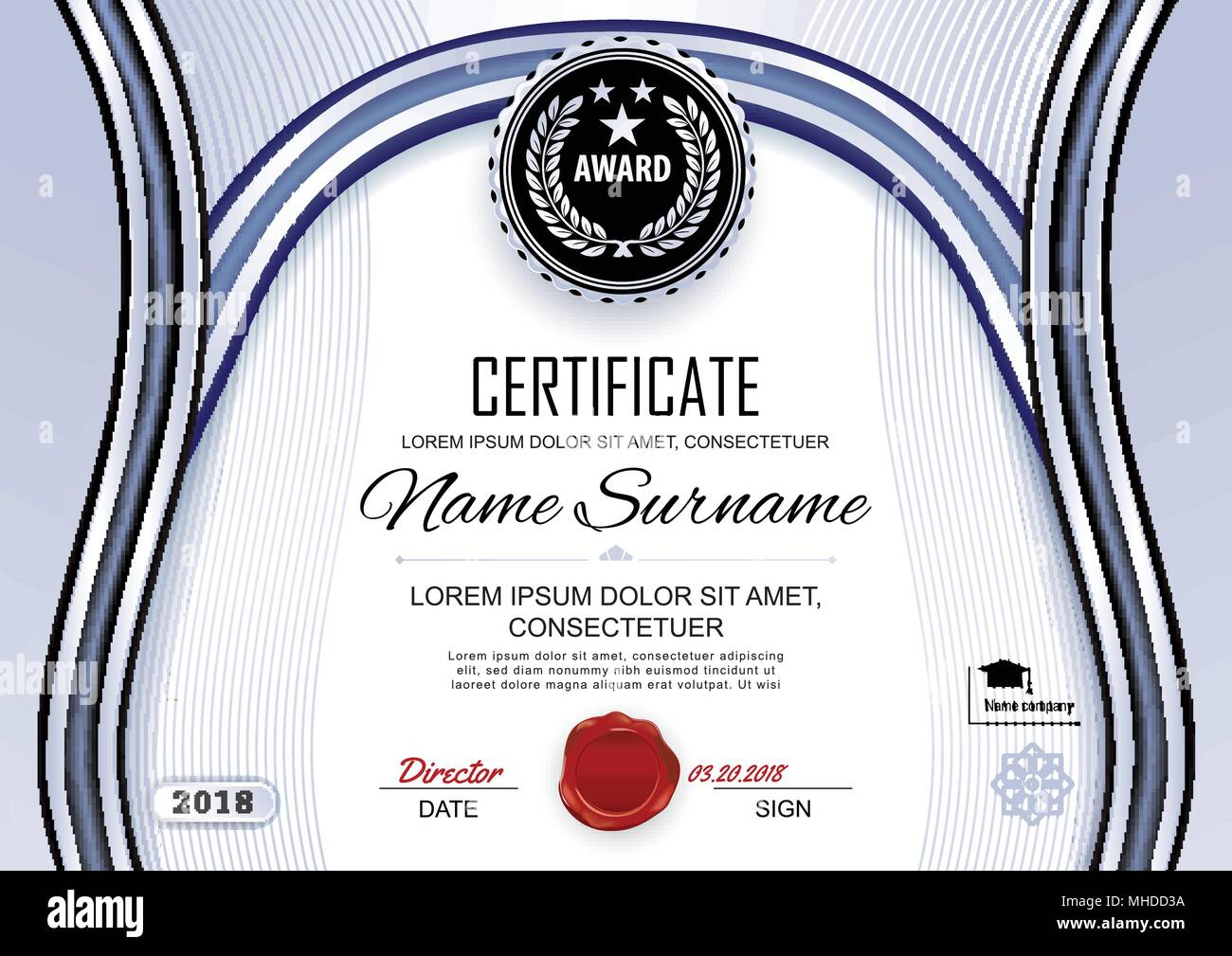 Official white certificate of appreciation award template with wave black and silver shapes and black badge, - Stock Image