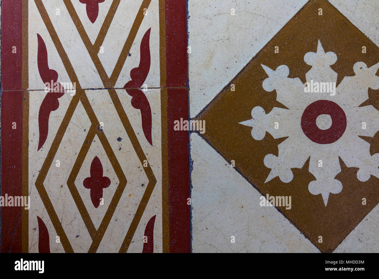 Closeup on worn out colonial floors. Old colonial house floor. Creamy feel due to the worn out, smooth surface - Stock Image