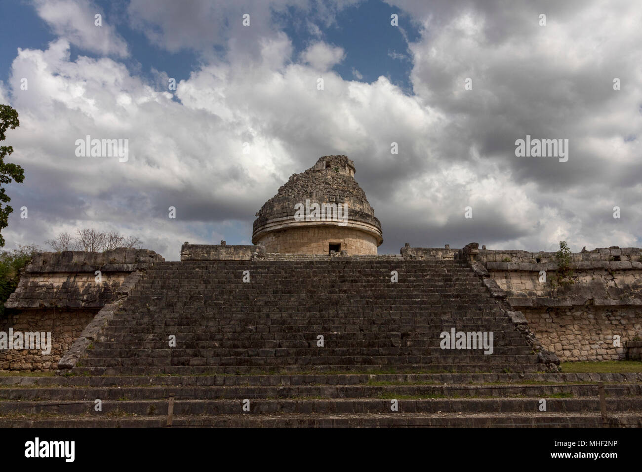 The Snail, Mayan observatory. Priests would decree the time of rituals, celebrations and planting from the dome of the circular building. Its Windows  - Stock Image