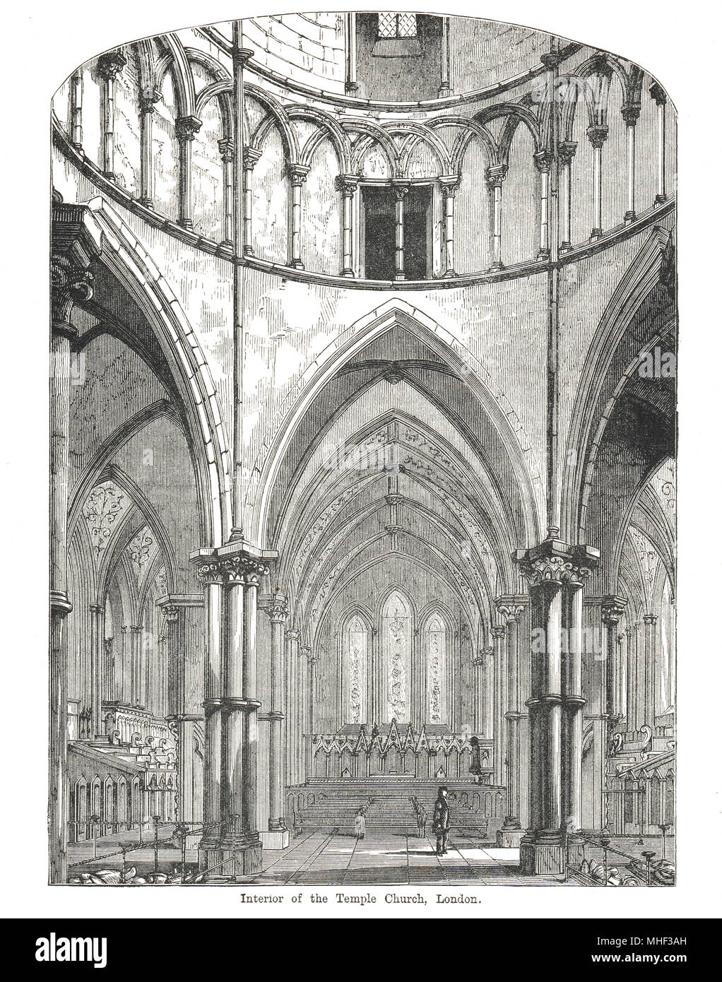 Interior of Temple Church, London, England. 19th Century illustration - Stock Image