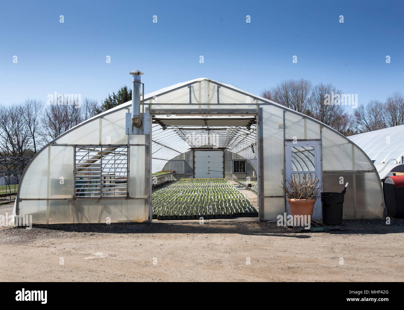 A greenhouse at a nursery in New Jersery - Stock Image