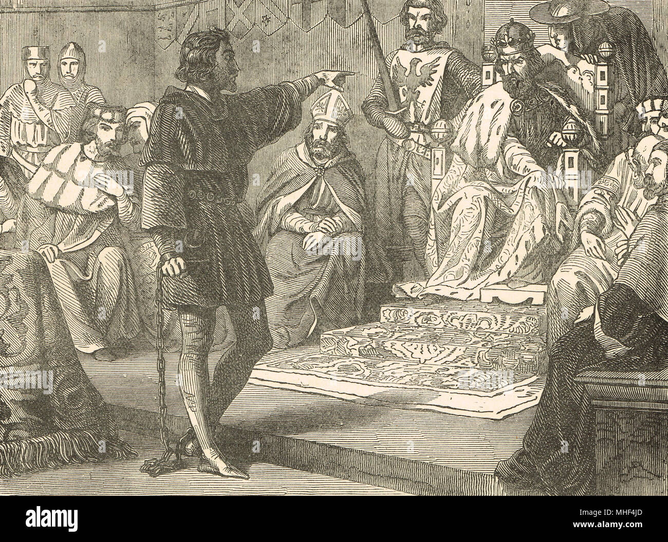 King Richard I refusing to show deference to Henry VI, Holy Roman Emperor, 1193, before the diet of the German Empire, Imperial city of  Speyer, Germany, Trial of Richard I - Stock Image