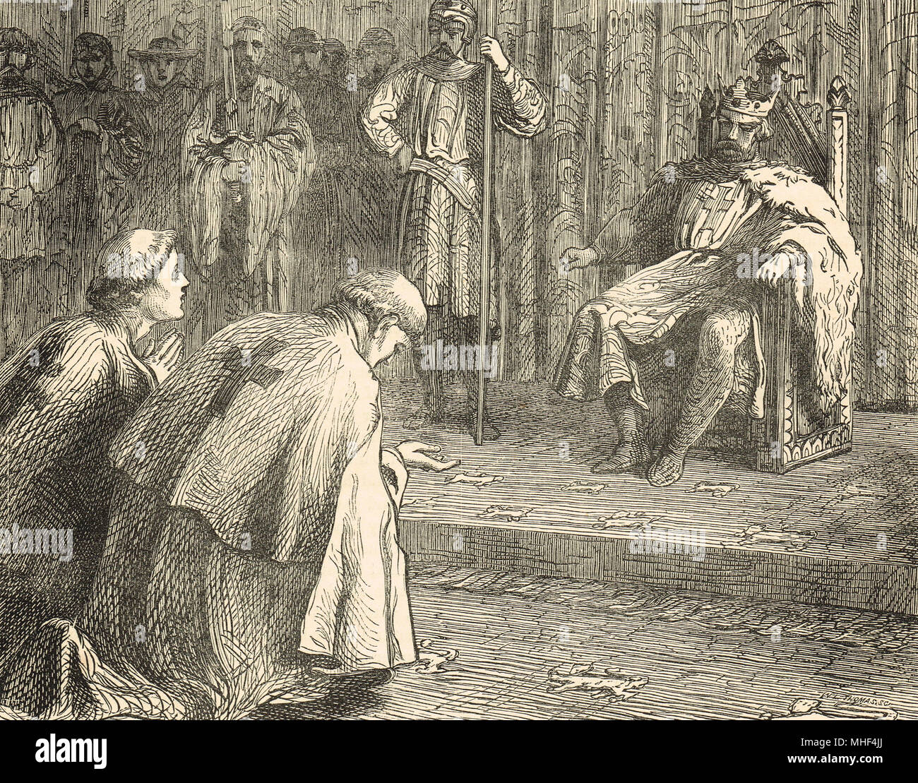 Priests pleading with King Richard I, interceding for the Bishop of Beauvais, Philip of Dreux, captured by Angevin forces. Rouen castle, Normandy, France, 1197 - Stock Image