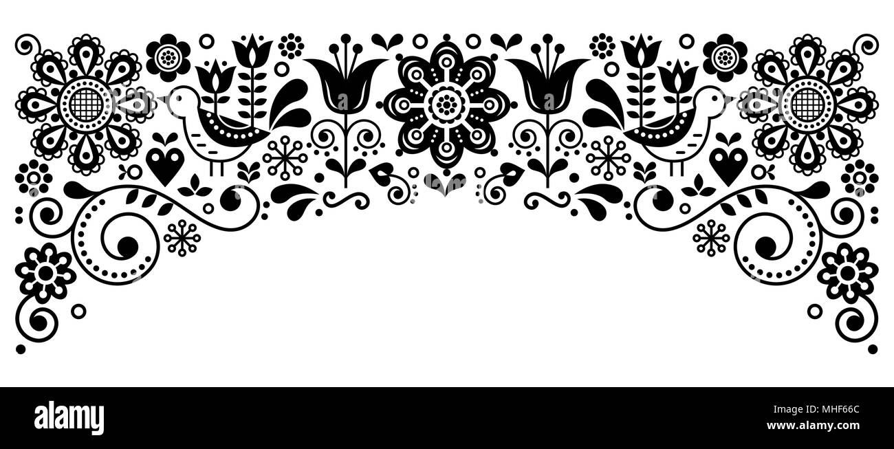 Scandinavian folk art frame border retro vector greeting card design floral black and white ornament with birs and flowers