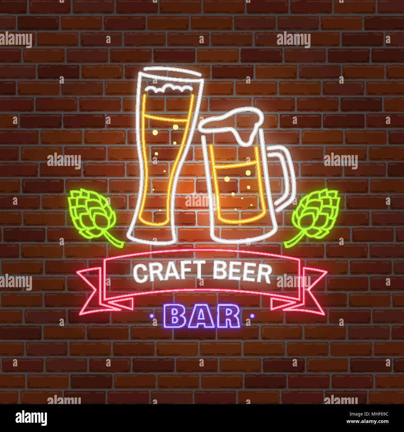 Retro neon Beer Bar sign on brick wall background. Vector ...