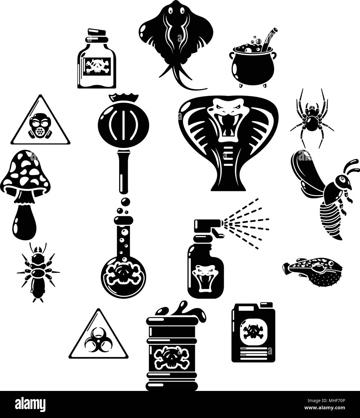 Poison danger toxic icons set, simple style - Stock Image