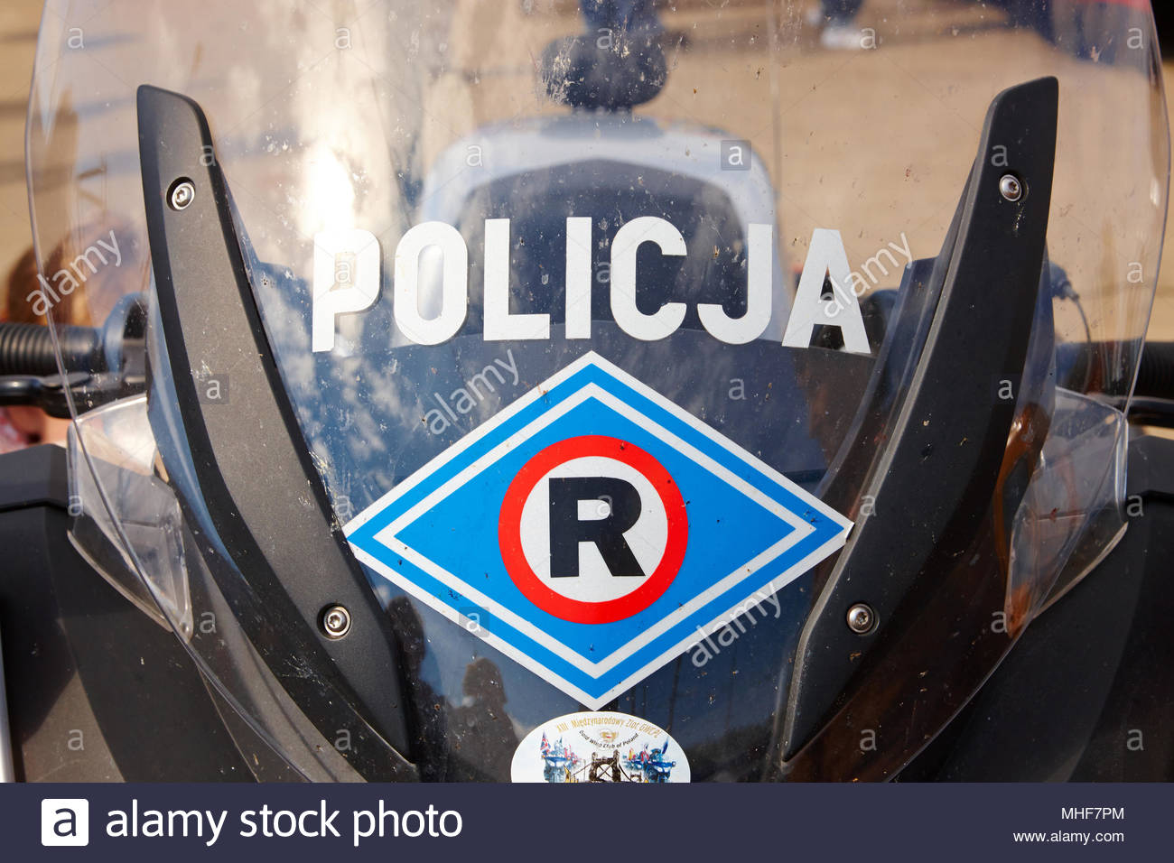 Police vehicles standing in street - Stock Image