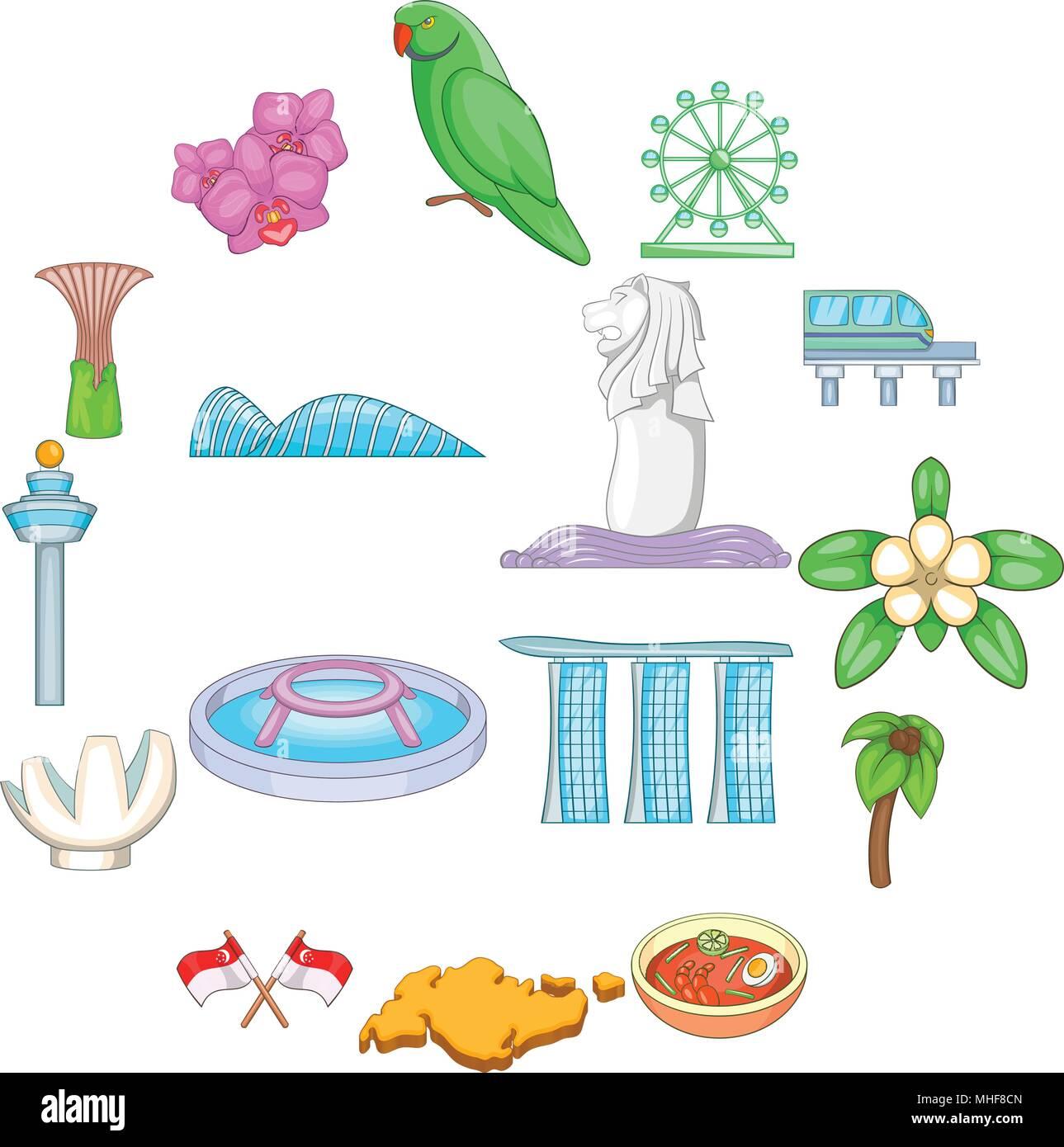 Singapore travel icons set, cartoon style Stock Vector