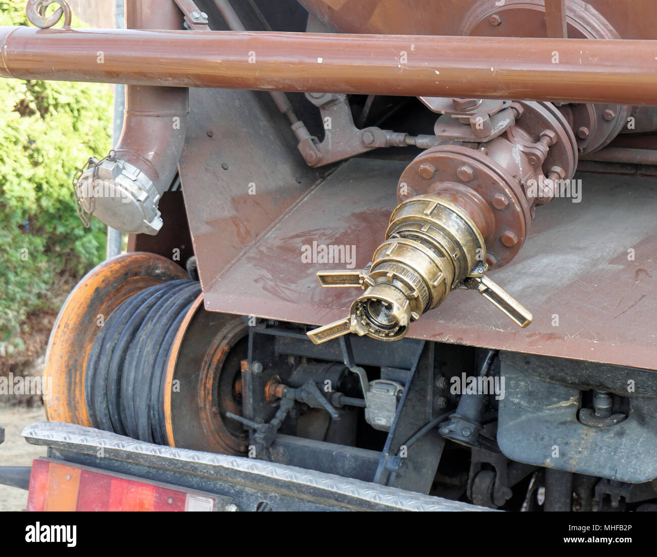 Wolfsburg, Lower Saxony, Germany, April 19, 2018: Connection for the hose of a suction cart and water cart for pumping water out of an excavation pit, - Stock Image
