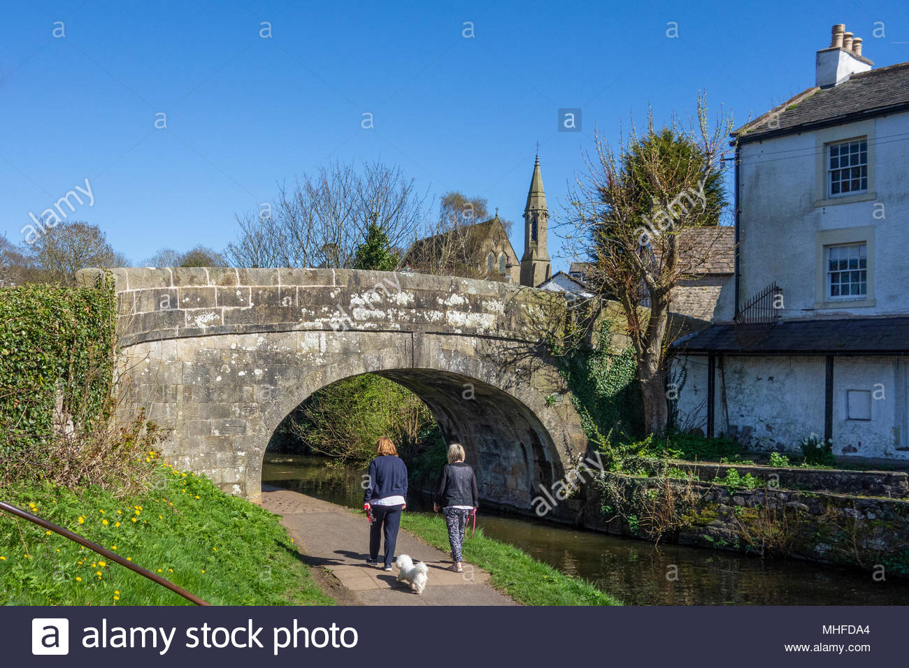 A sunny day on the Lancaster Canal towpath at Bolton le Sands, Lancashire, UK - Stock Image