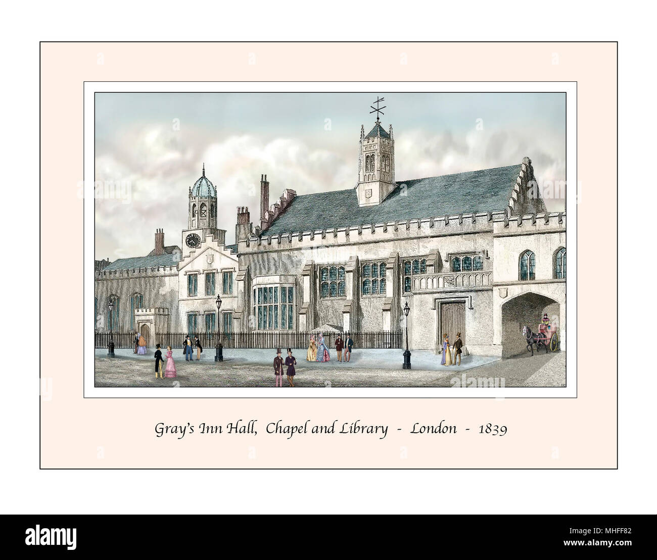 Gray's Inn London Original Design based on a 19th century Engraving - Stock Image