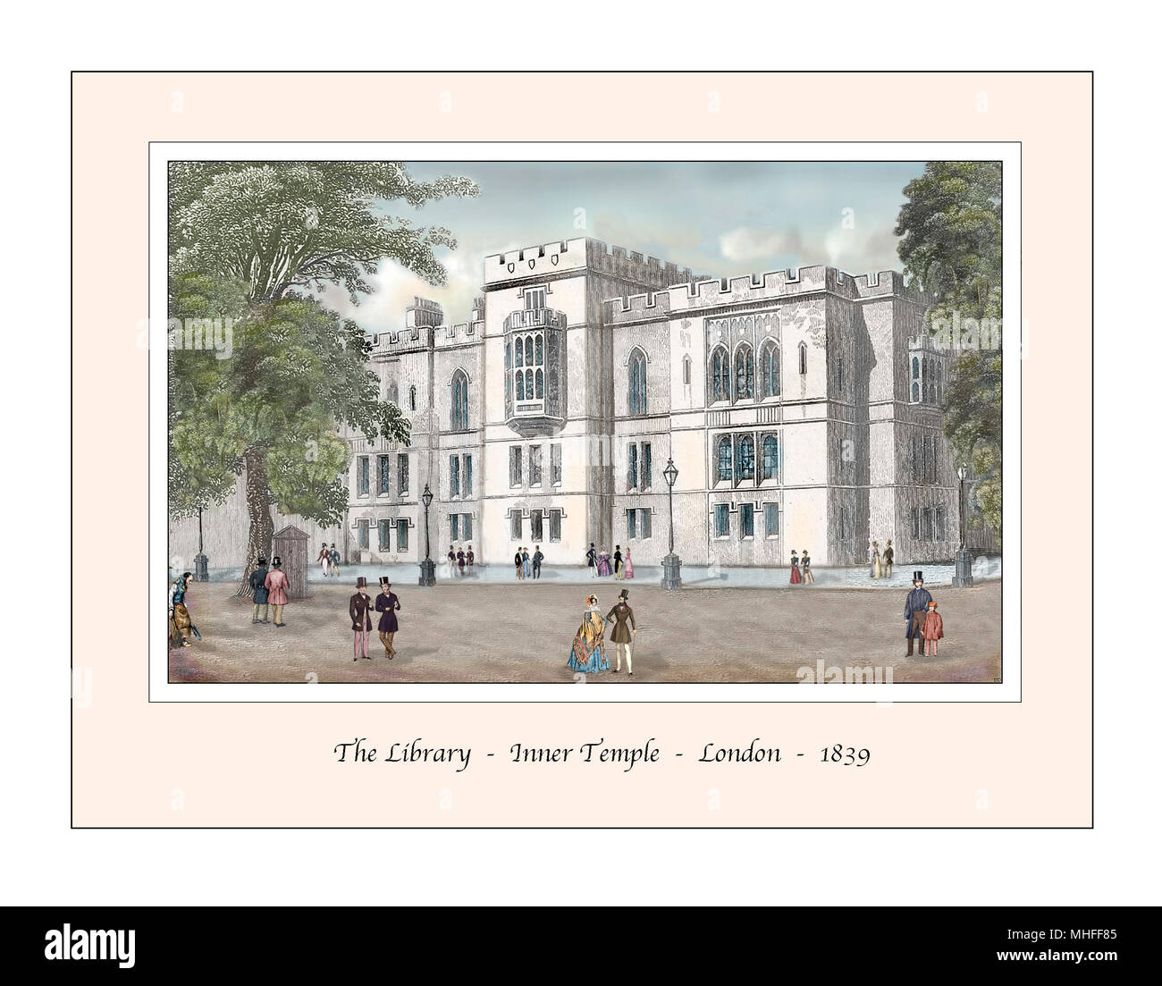 Library Inner Temple London Original Design based on a 19th century Engraving - Stock Image