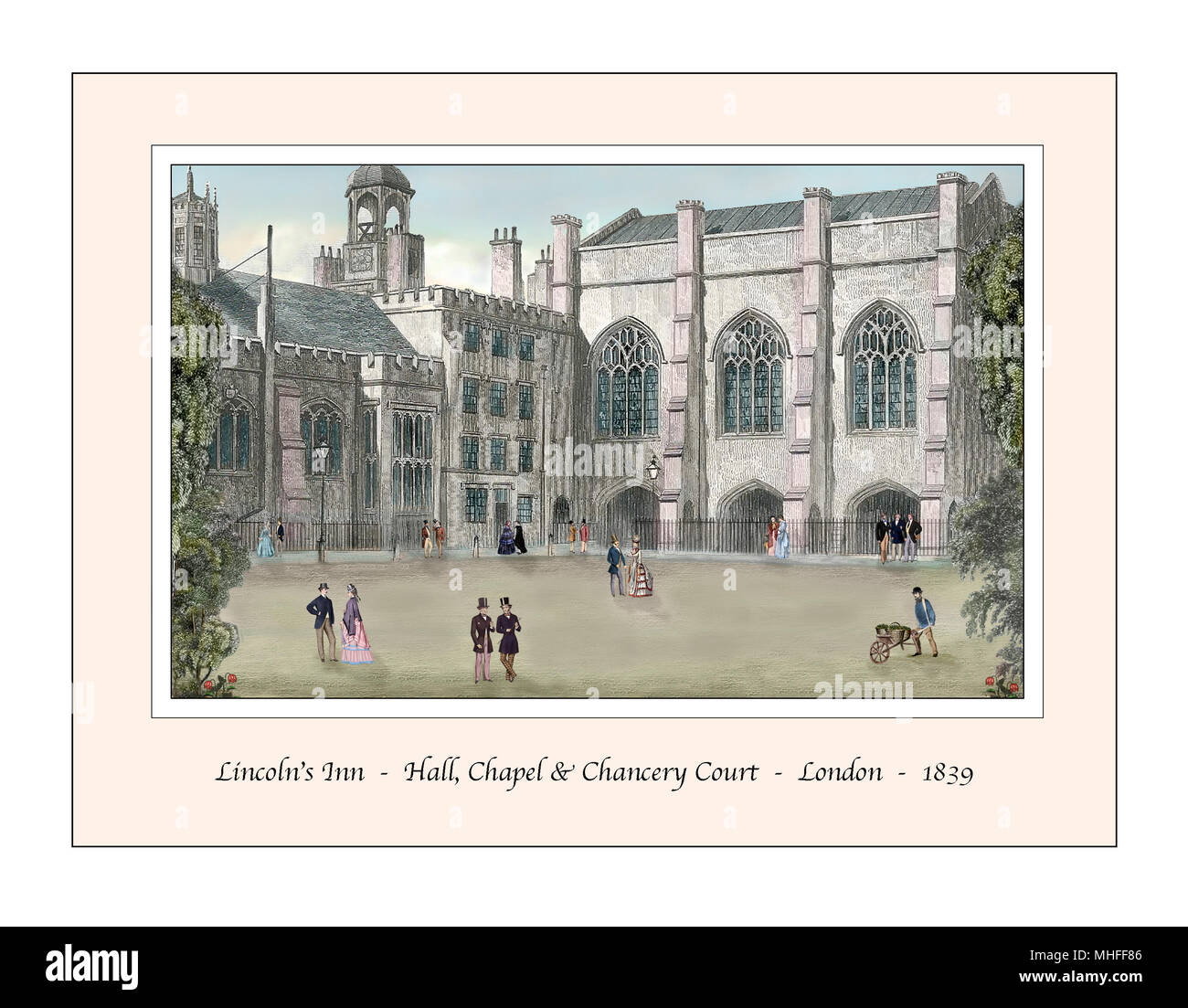 Lincoln's Inn London Original Design based on a 19th century Engraving - Stock Image