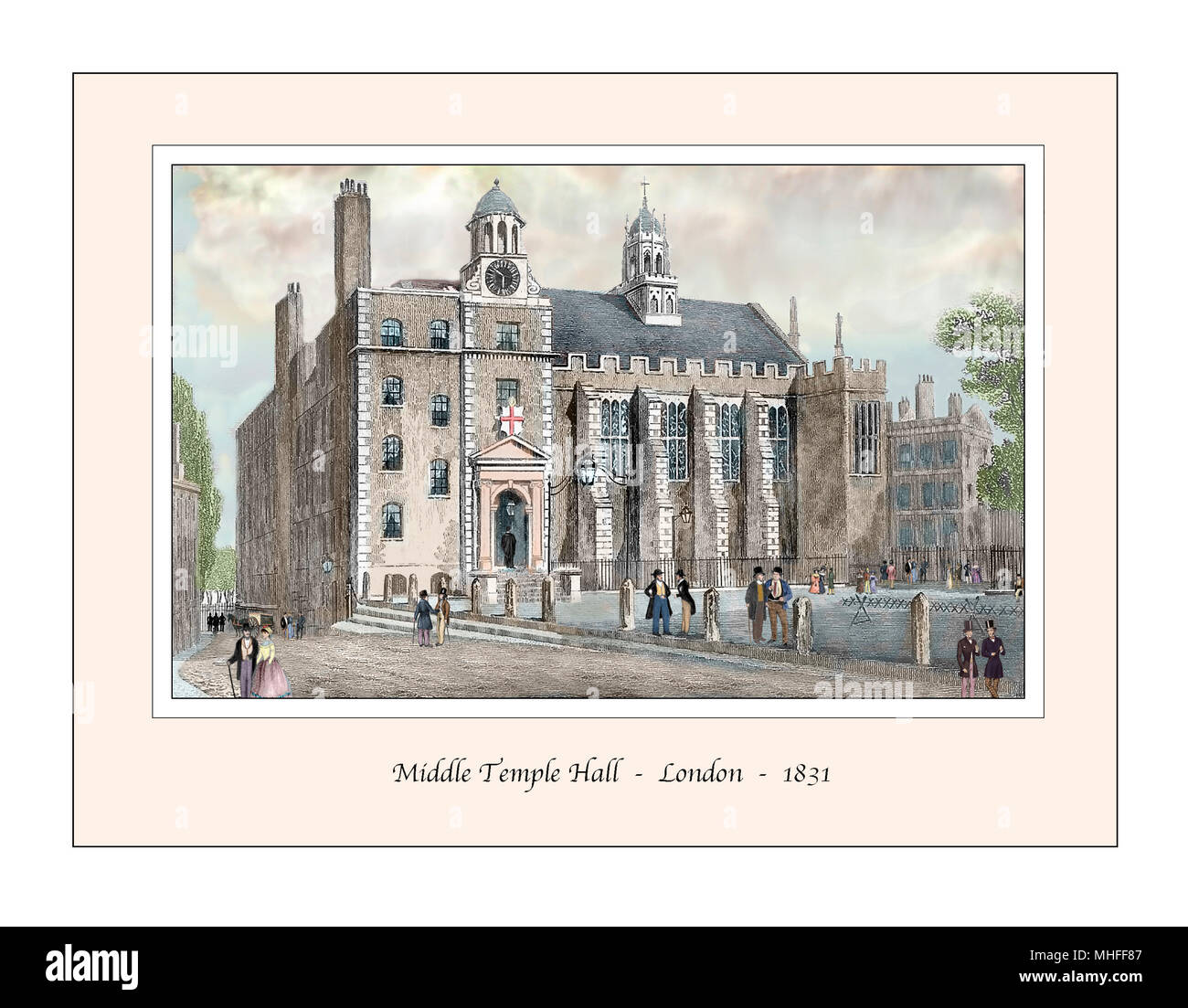 Middle Temple Hall London Original Design based on a 19th century Engraving - Stock Image