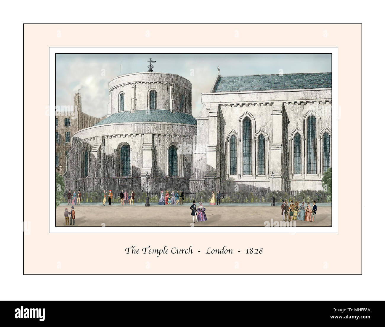 Temple Church London Original Design based on a 19th century Engraving - Stock Image