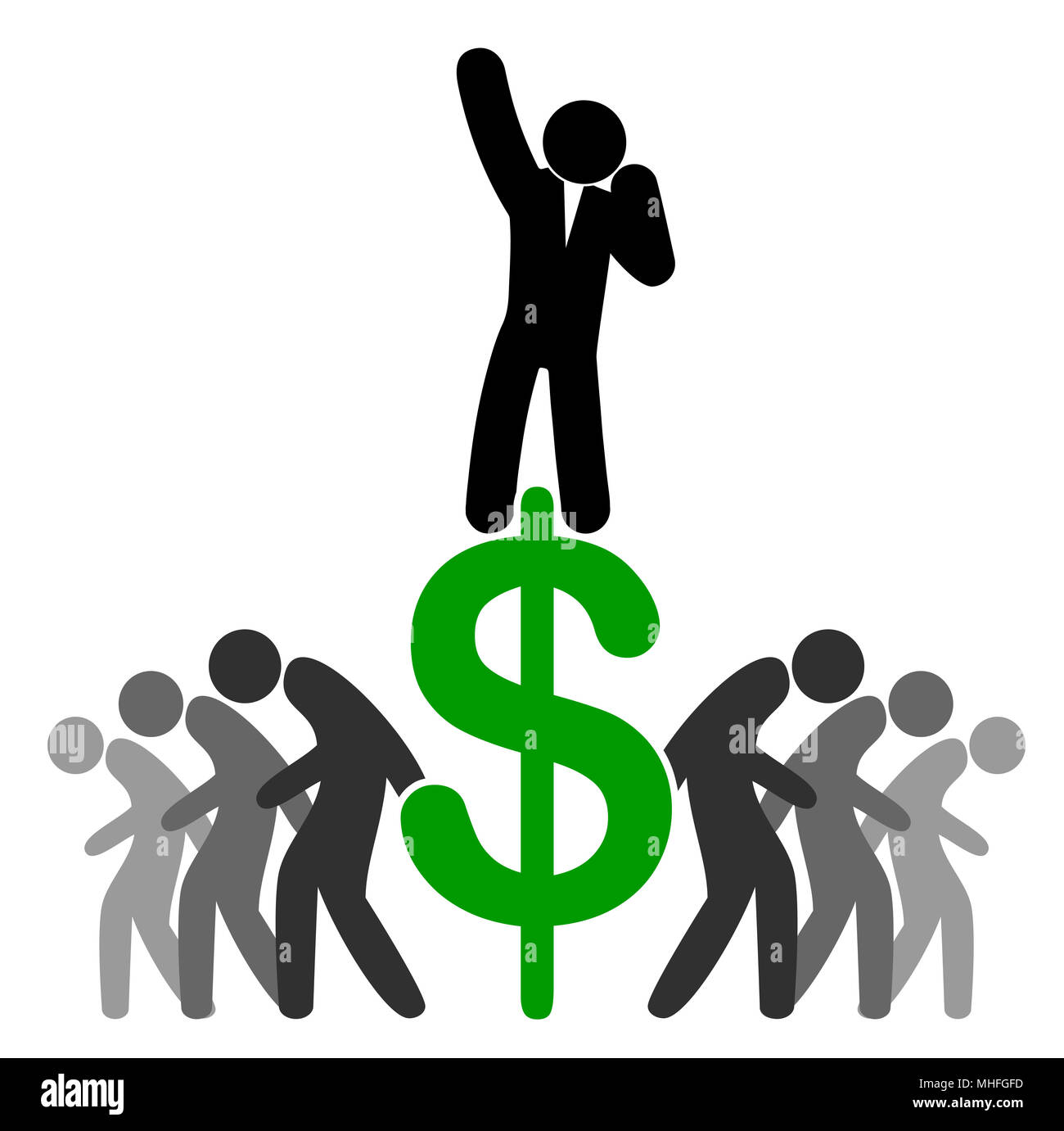 Business metaphor for workers getting exploited by racketeer - Stock Image