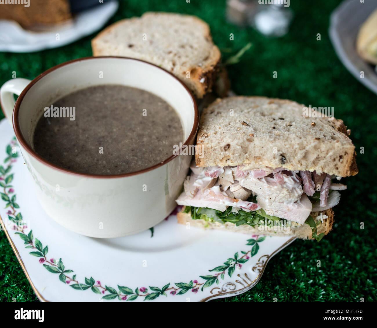 Rustic Mushroom Soup and Chicken Sandiwch - Stock Image