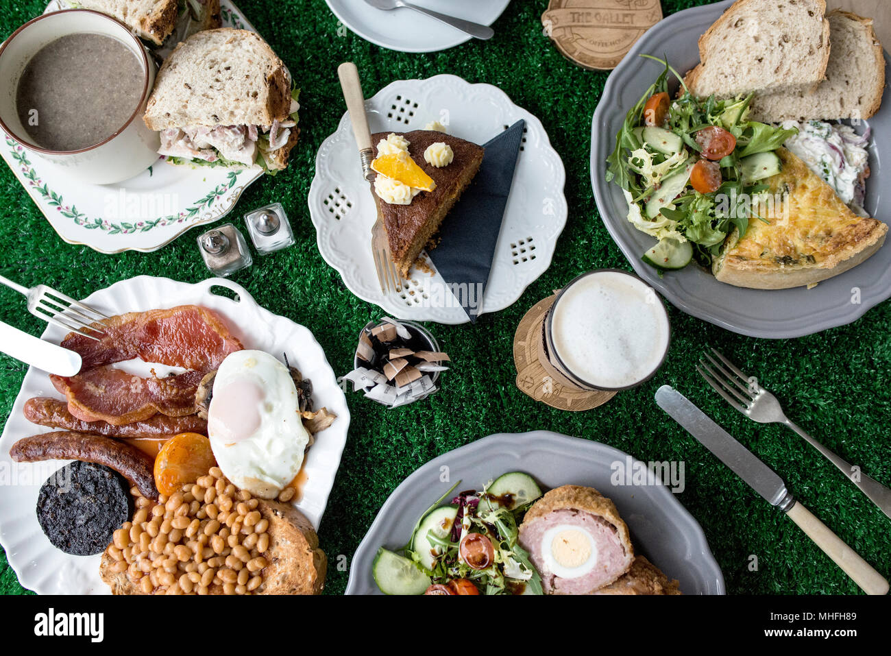 Cafe Food Shot From Above - Stock Image