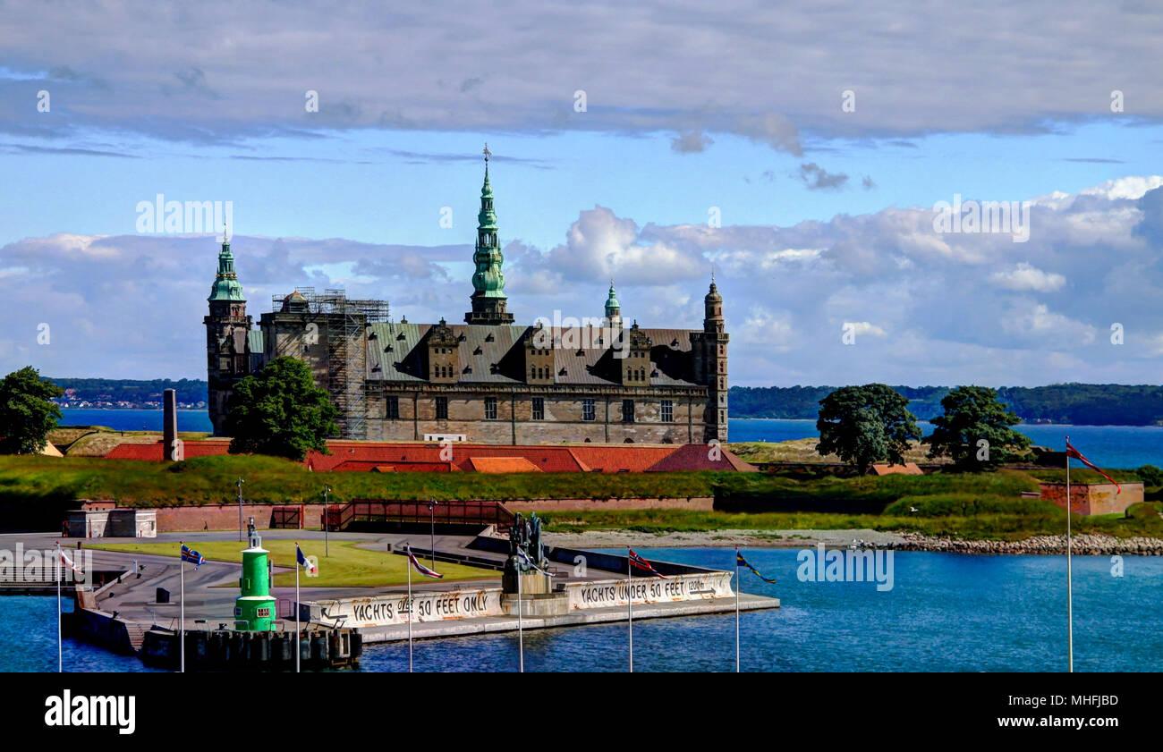 Sea panorama of Kronborg castle in Helsingor, Denmark - Stock Image