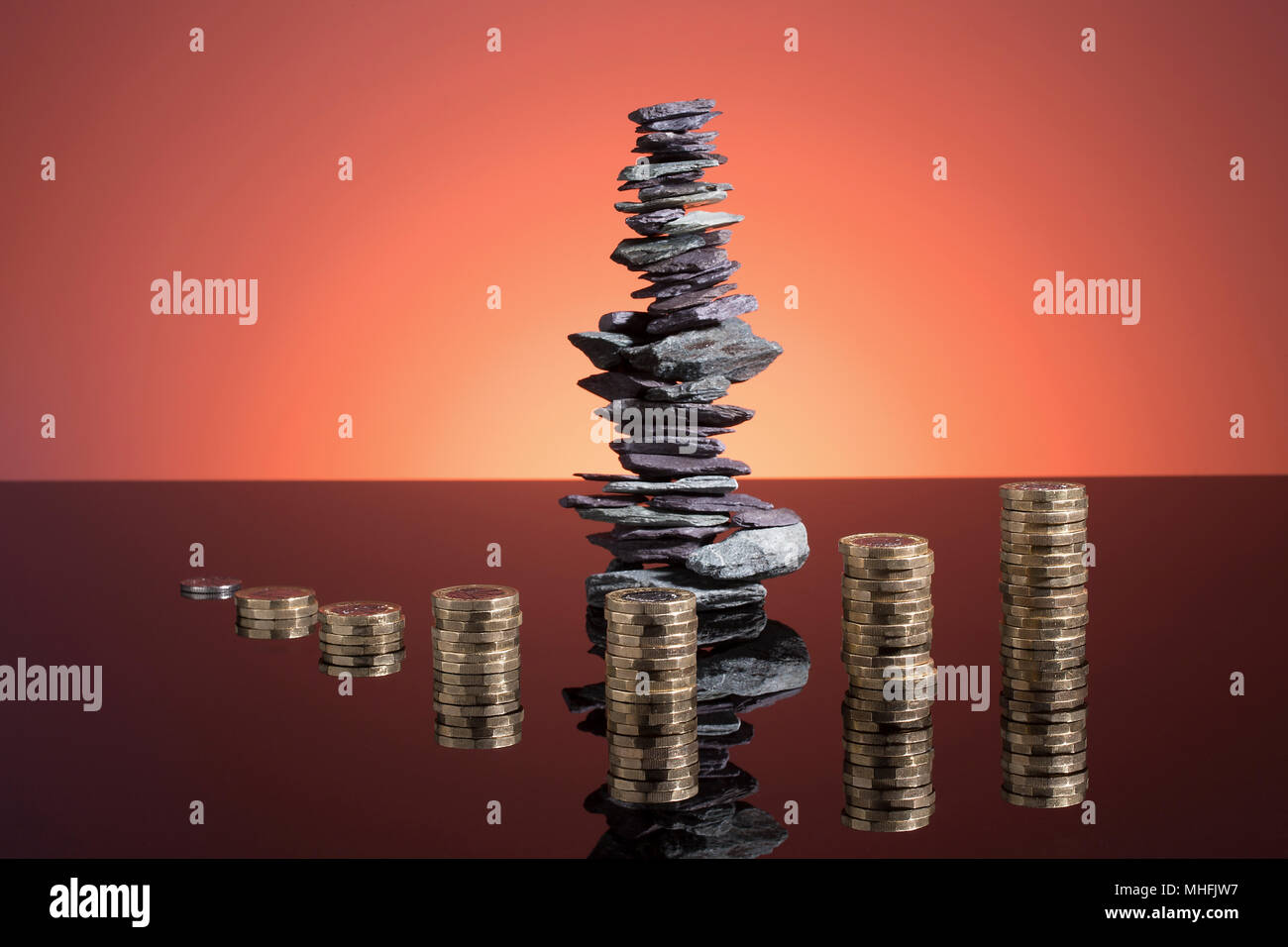 very well placed stone structure represents financial wise growth and rise - Stock Image