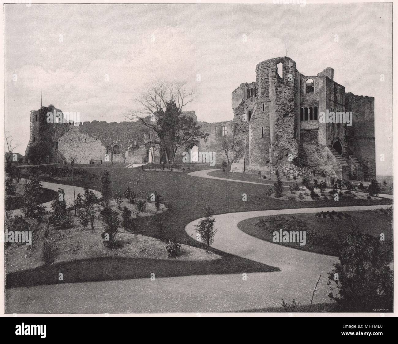 Newark Castle, in Newark Nottinghamshire, is supposed to have been built by King Egbert in the early part of the ninth century - Stock Image