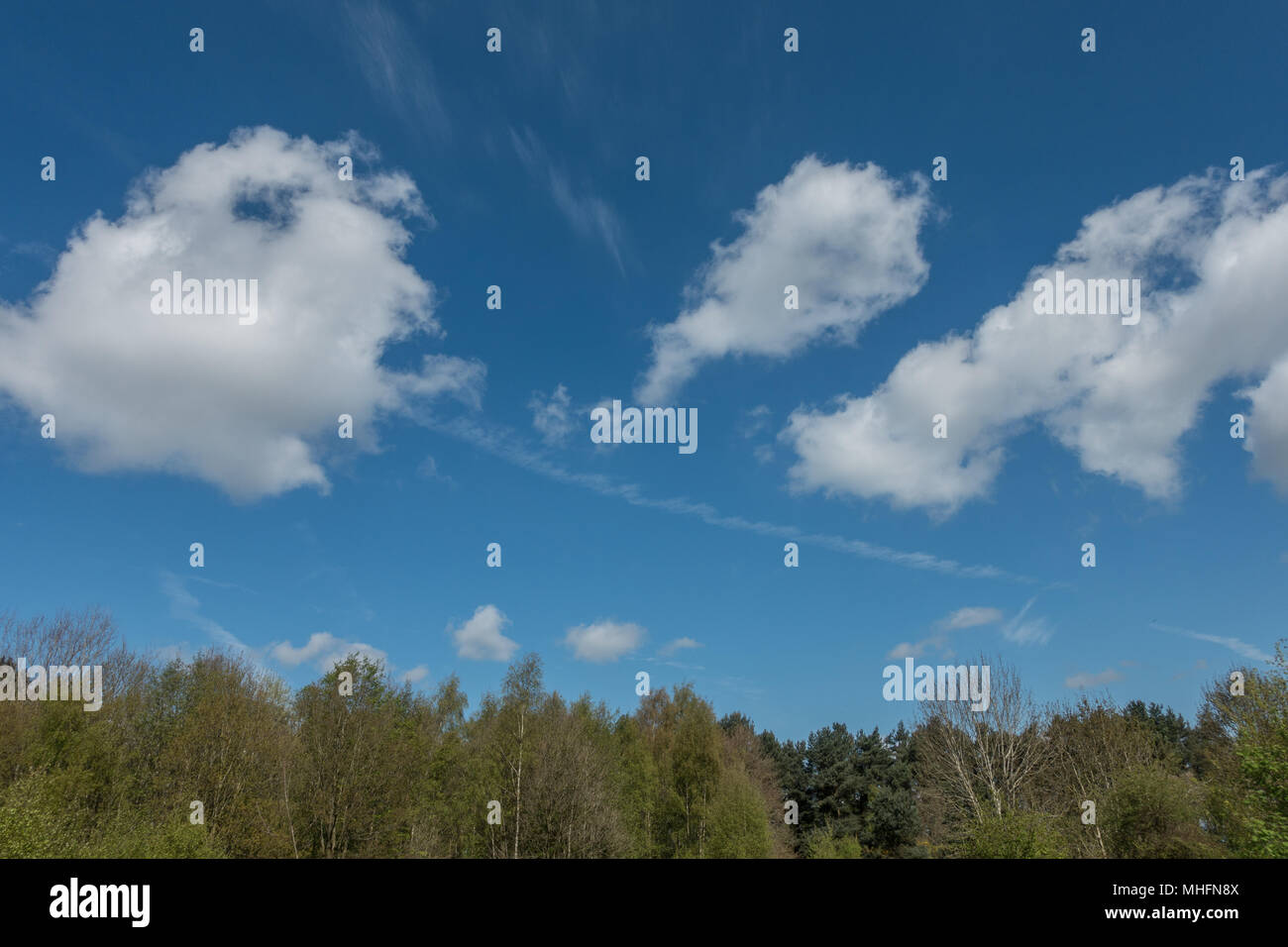 fluffy clouds amongst beautiful blue skies - Stock Image