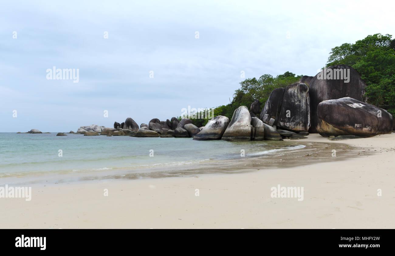 Scenery of stone formation Tanjung Tinggi beach,  Belitung island Indonesia - Stock Image