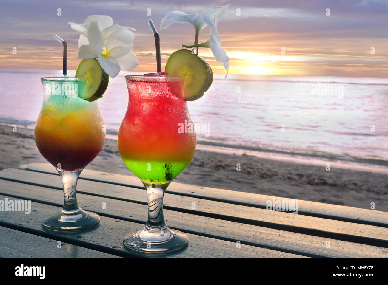 Two Cocktails Drinks Served In A Pacific Island Honeymoon