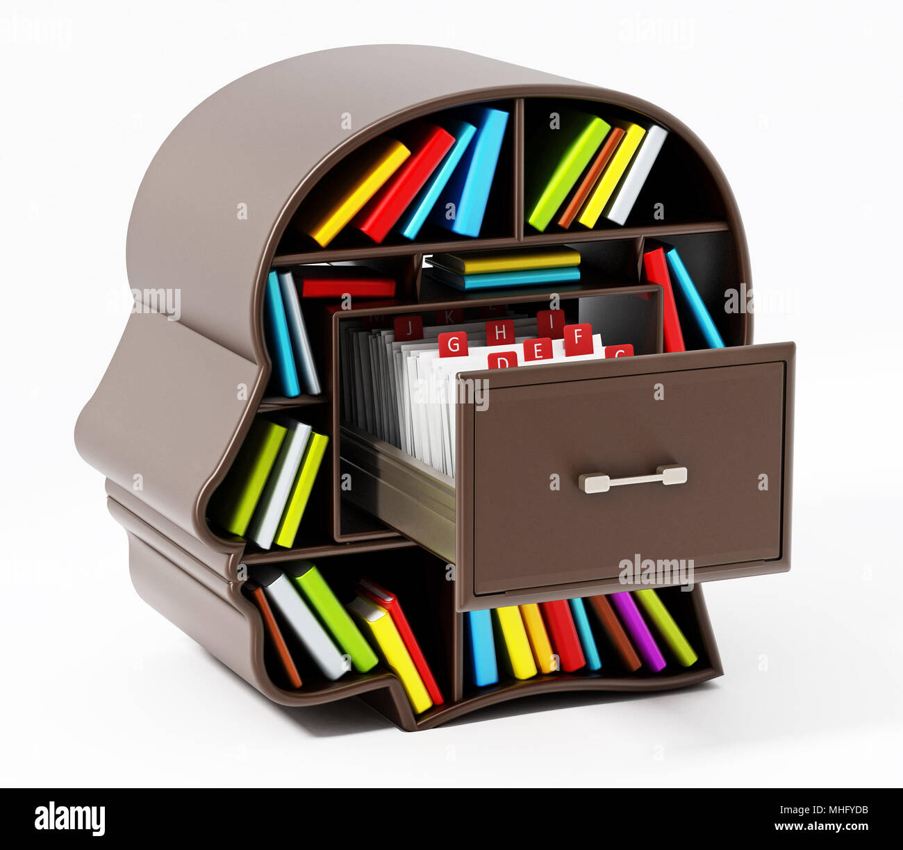 Index card catalogue inside head library drawer. 3D illustration. - Stock Image