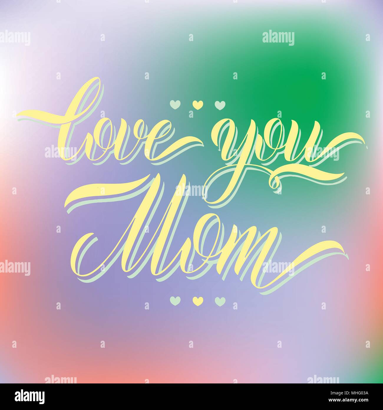 Love You Mom Lettering Greeting Card Design Hand Drawn Text Stock