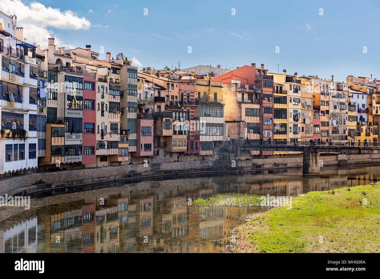 Colorful houses in the historical jewish quarter in Girona, Catalonia Stock Photo
