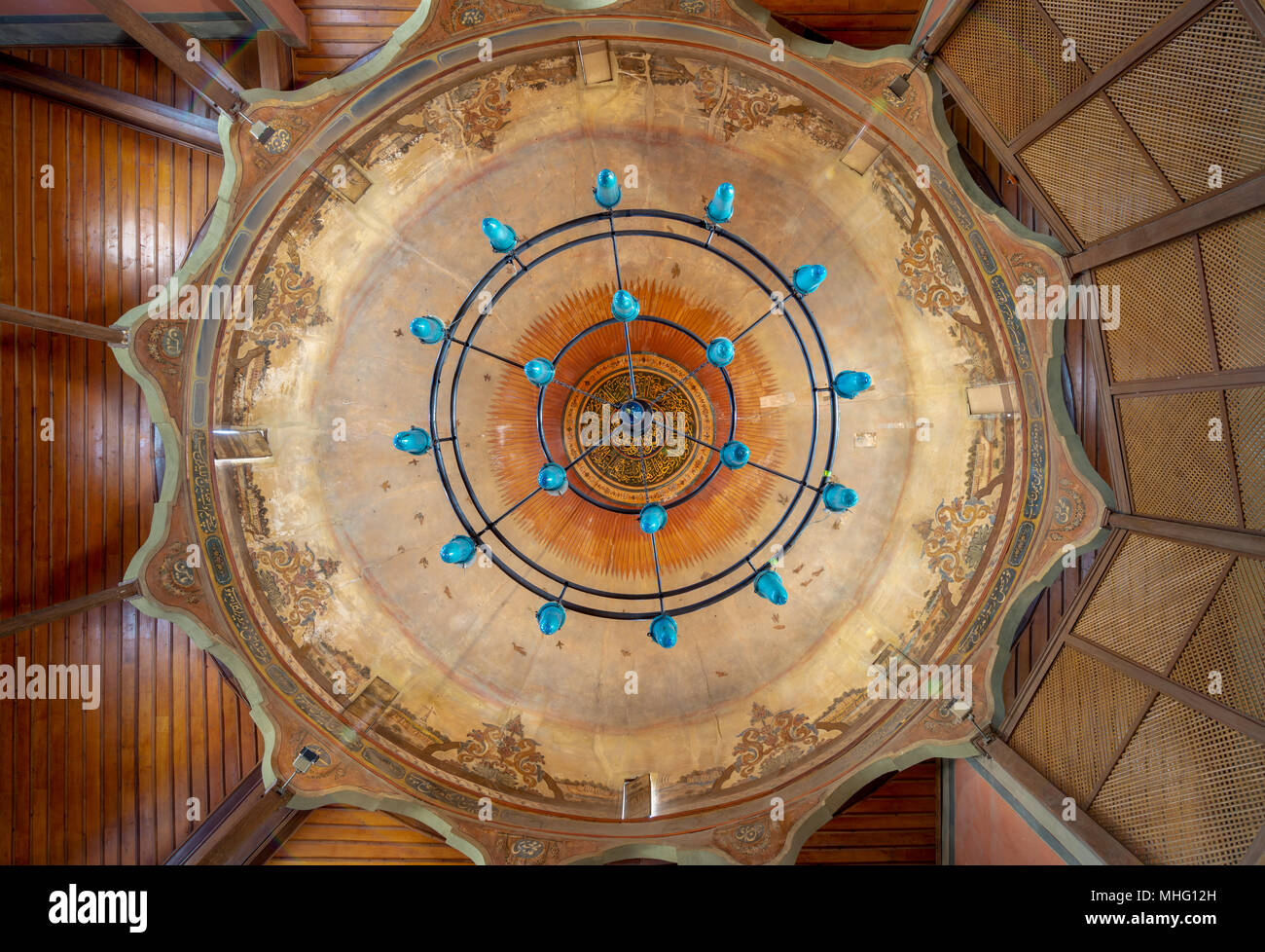 Ornate dome of Whirling Dervishes Ceremony hall at the Mevlevi Tekke, a meeting hall for the Sufi order and Whirling Dervishes, Cairo, Egypt - Stock Image
