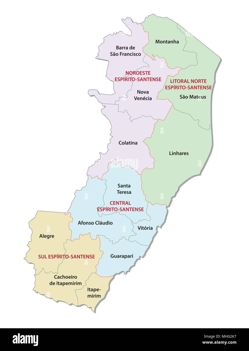 espirito santo administrative and political vector map - Stock Image
