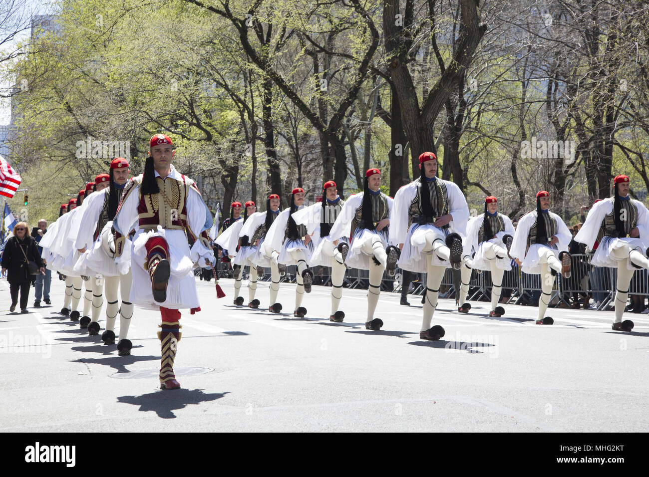 Greek Independence Day Parade in New York City. Greek President's Guard march in the parade up 5th Avenue. - Stock Image