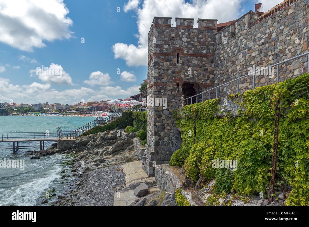 ancient fortifications and old town of Sozopol, Burgas Region, Bulgaria - Stock Image
