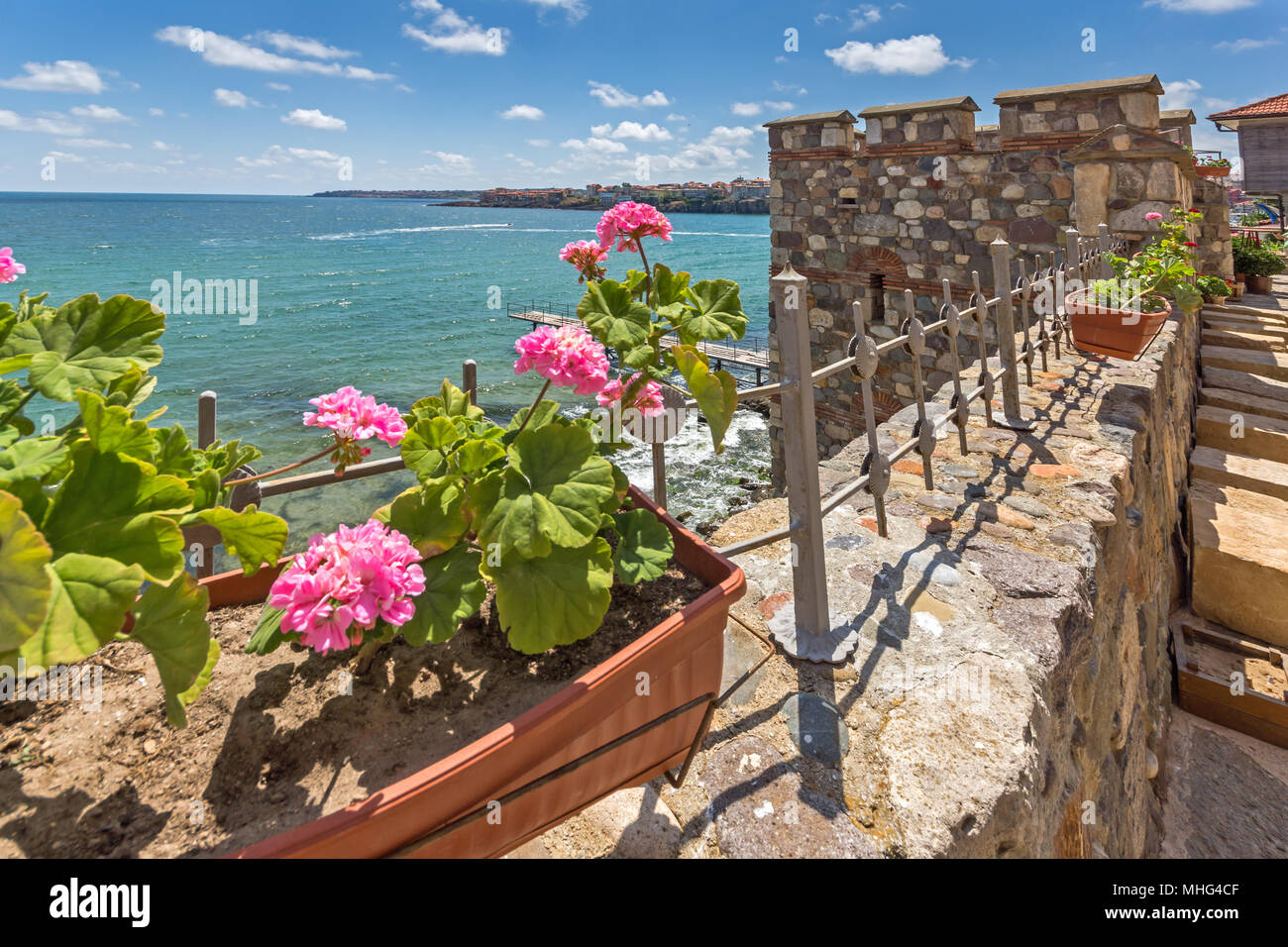 Ancient fortifications in town of Sozopol, Burgas Region, Bulgaria - Stock Image