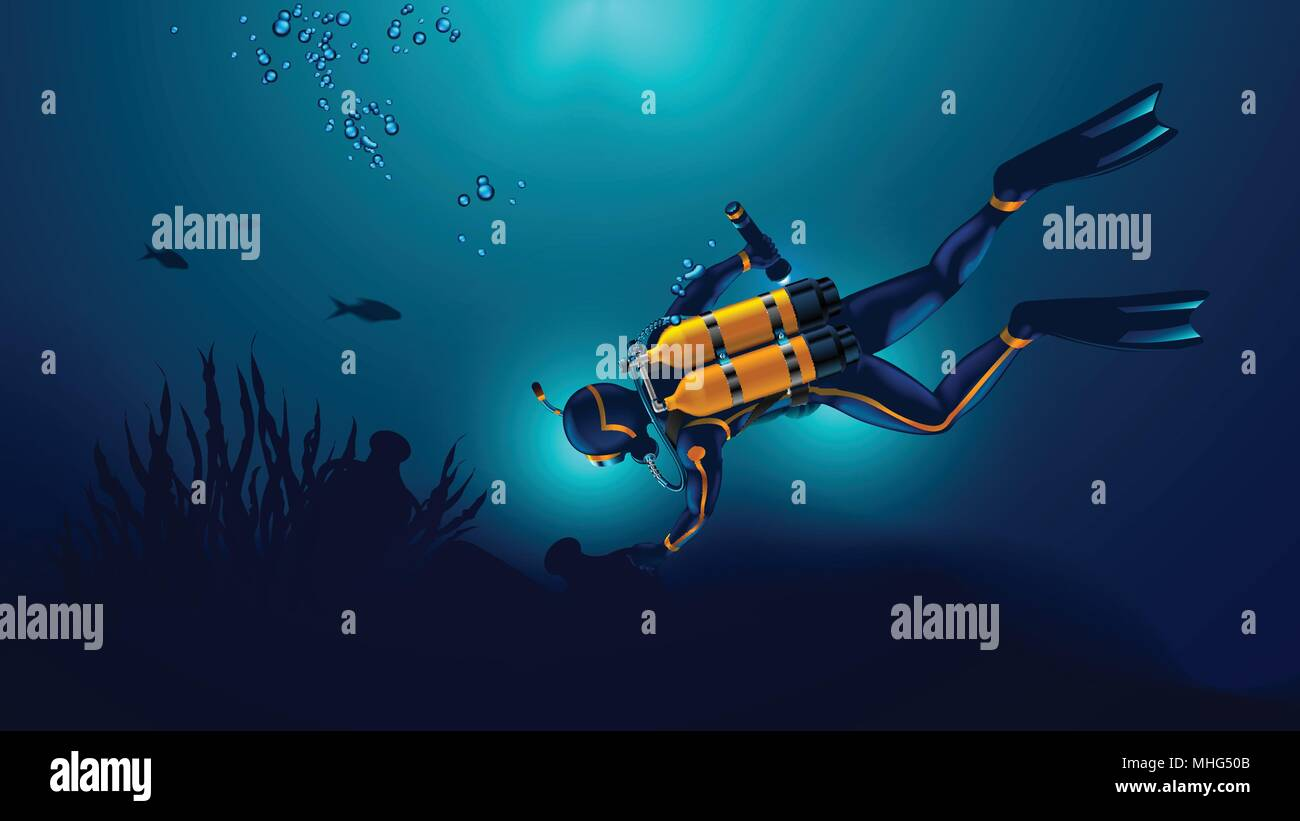 Scuba diver exploring the seabed. Underwater archaeologist found an ancient jug underwater. Oxygen cylinders on the back of the diver - Stock Vector