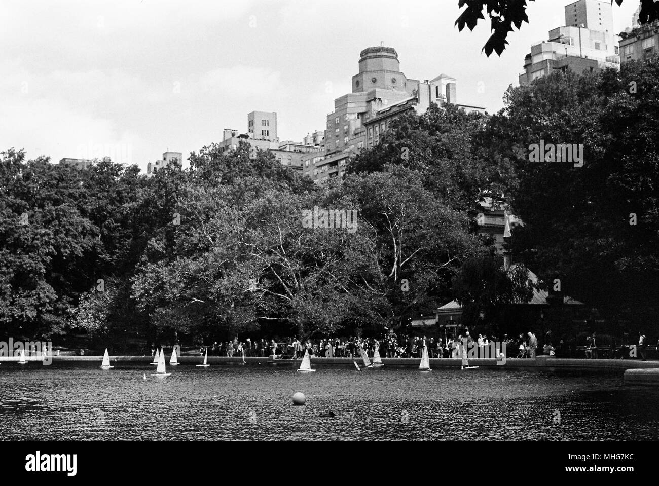 Central Park Model Boat Sailing, Conservatory Water, Central Park, New York City, United States of America. - Stock Image
