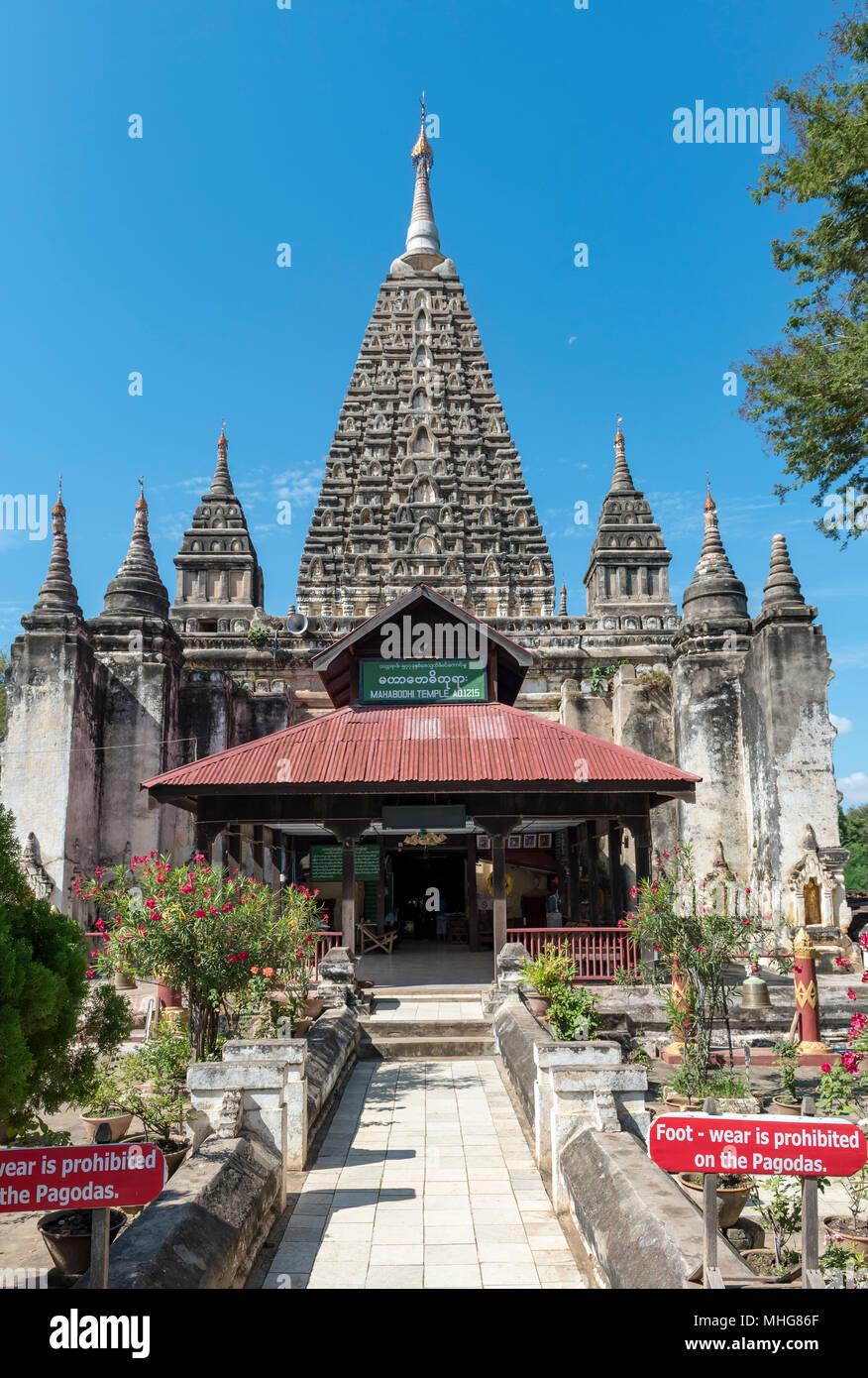 Maha Bodhi Pagoda (Mahabodhi paya), Old Bagan, Myanmar (Burma) Stock Photo