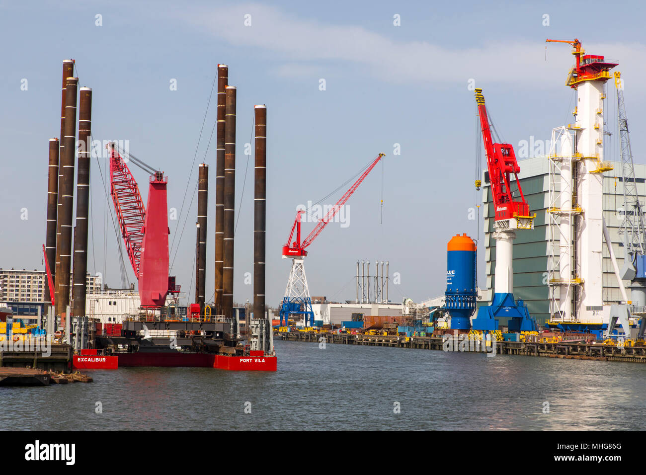 The port of Rotterdam, Netherlands, shipyards in the