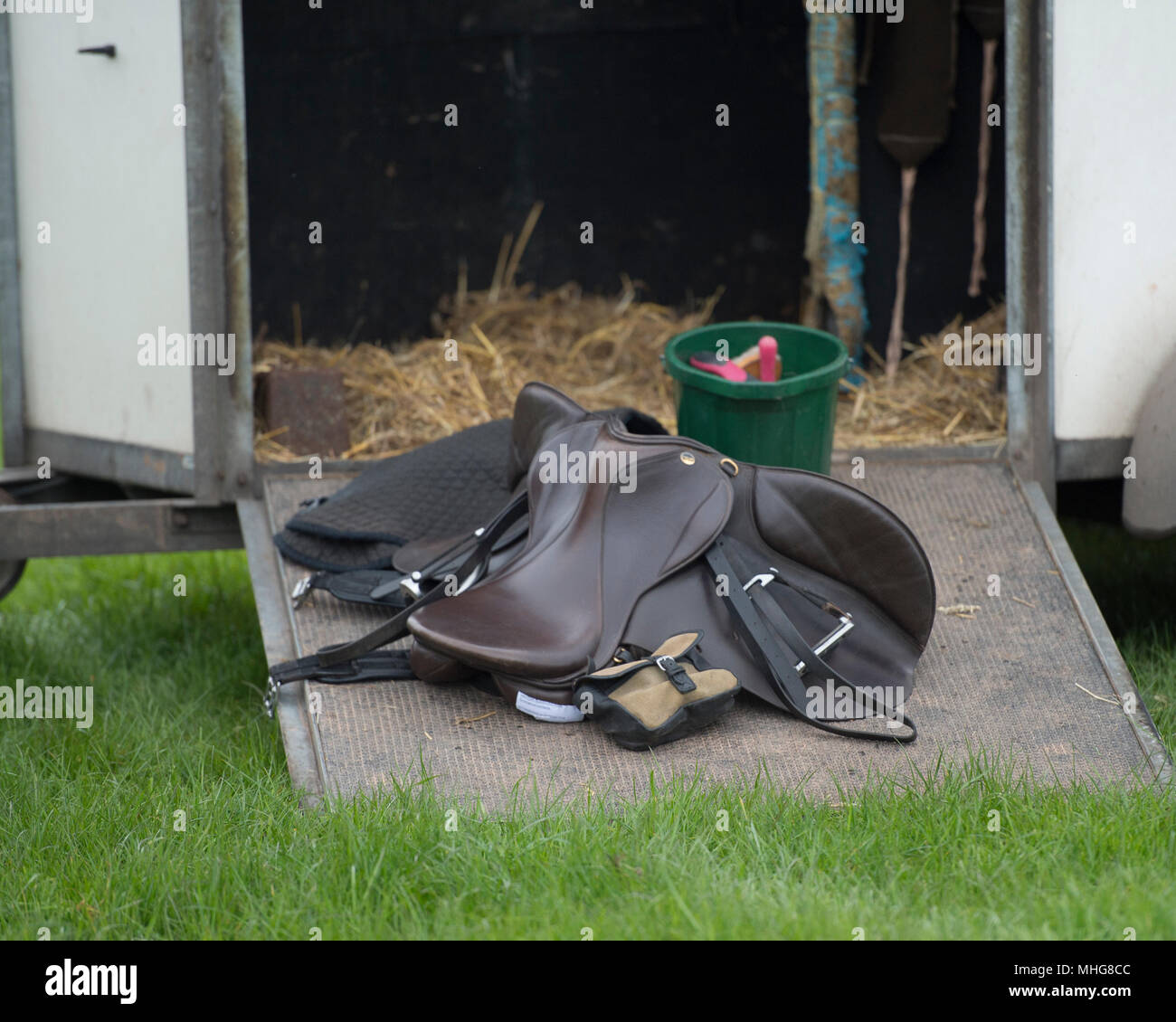tack from a horse on the ramp of the lorry - Stock Image