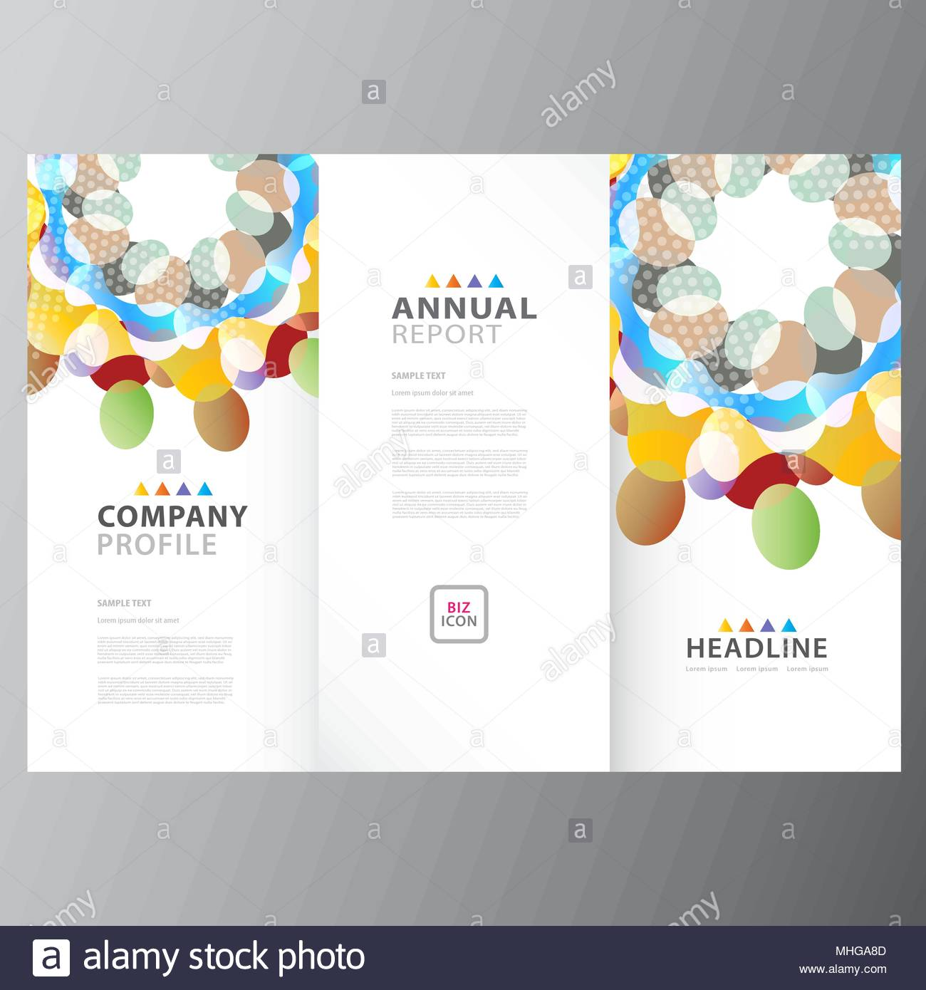 Annual Colorful Business Report Template Design Layout Stock Vector