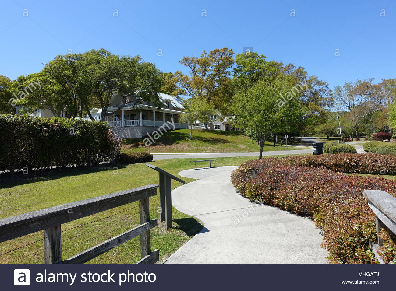 View of a Southport, North Carolina Neighborhood from Kingsley Park Stock Photo