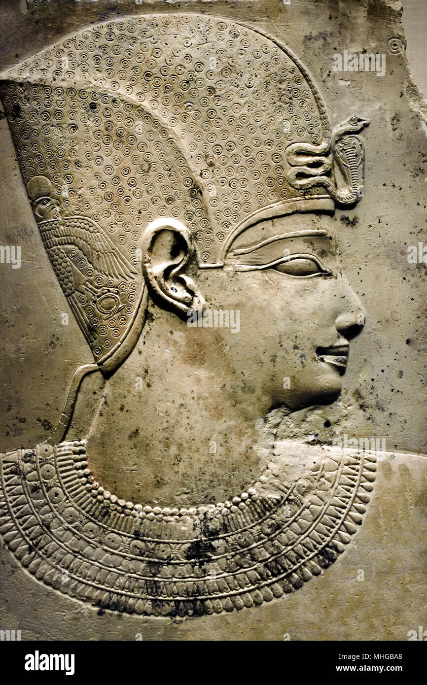 Low relief of a Pharaoh ( Greco Roman Period ) 300-250 BC Fine Limestone - Stock Image