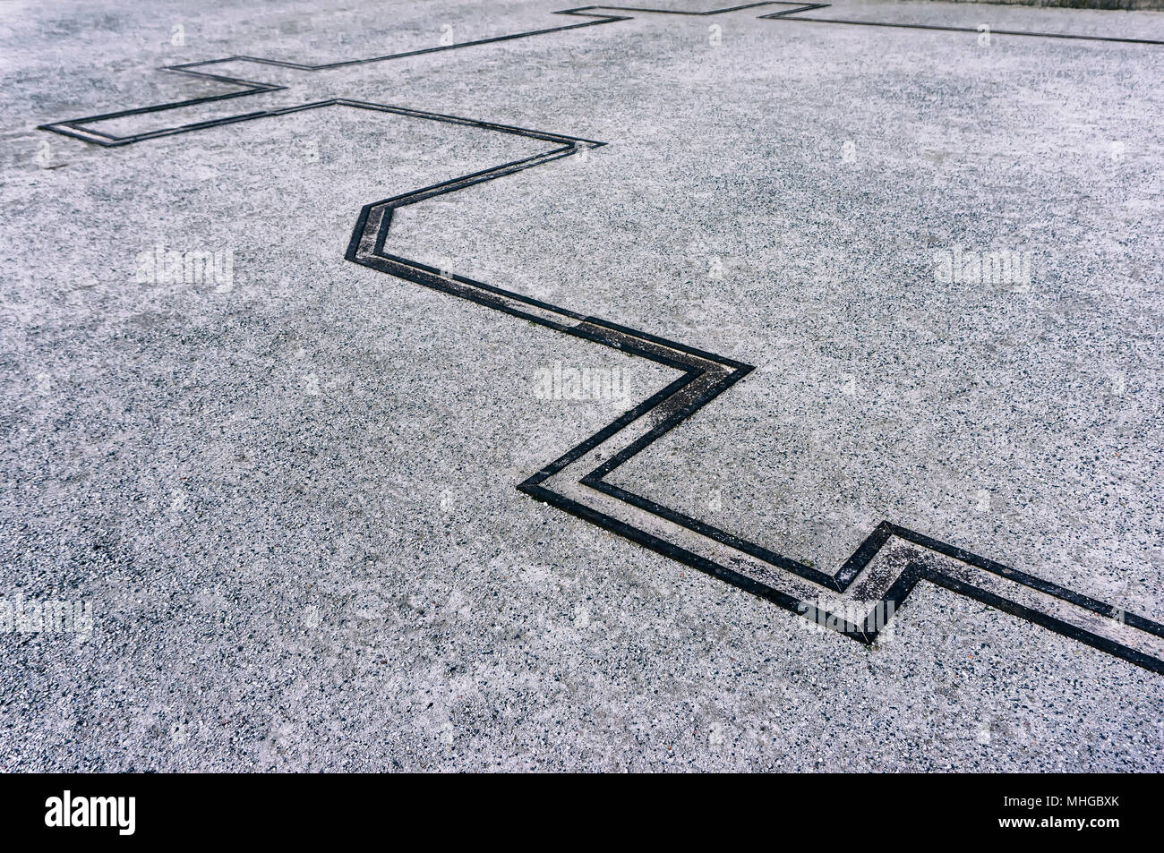 Metal in-ground installation at Berlin Wall Memorial - Stock Image