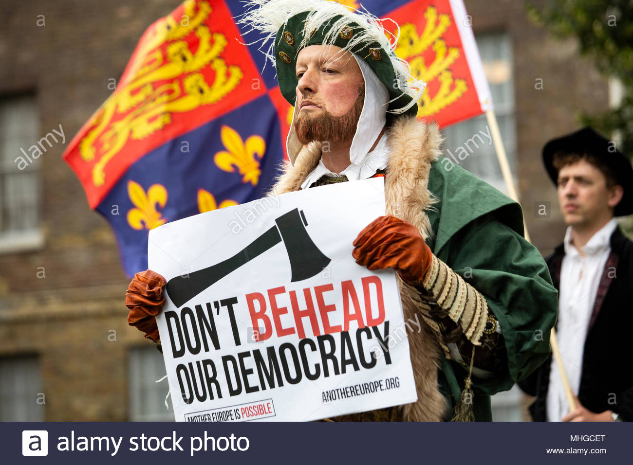 A protest by actors against the Tory government's attitude to the Brexit talks with the EU at Westminster today. Credit: reallifephotos/Alamy - Stock Image