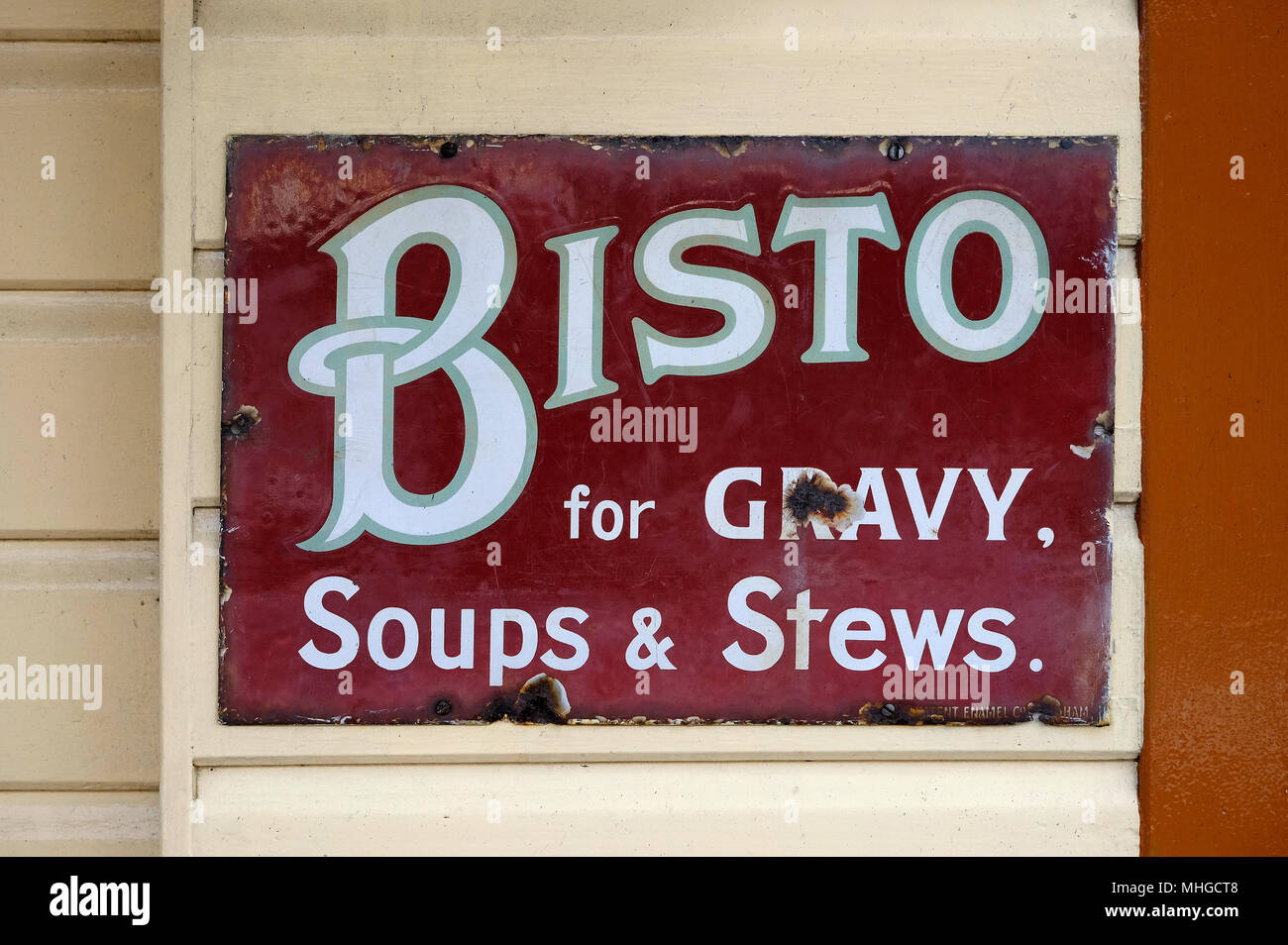old bisto gravy soups and stews sign - Stock Image