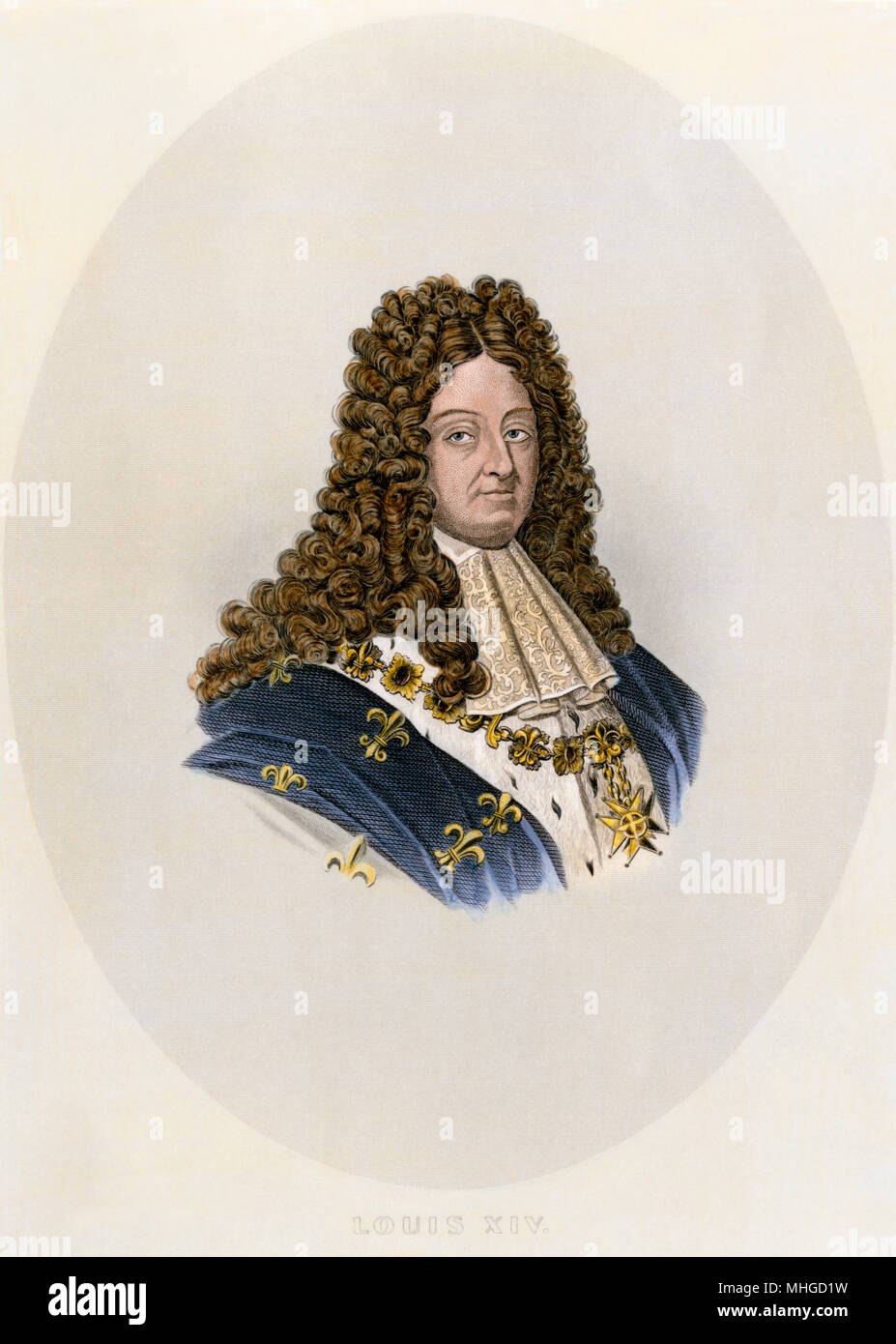 Louis XIV, King of France. Hand-colored engraving Stock Photo