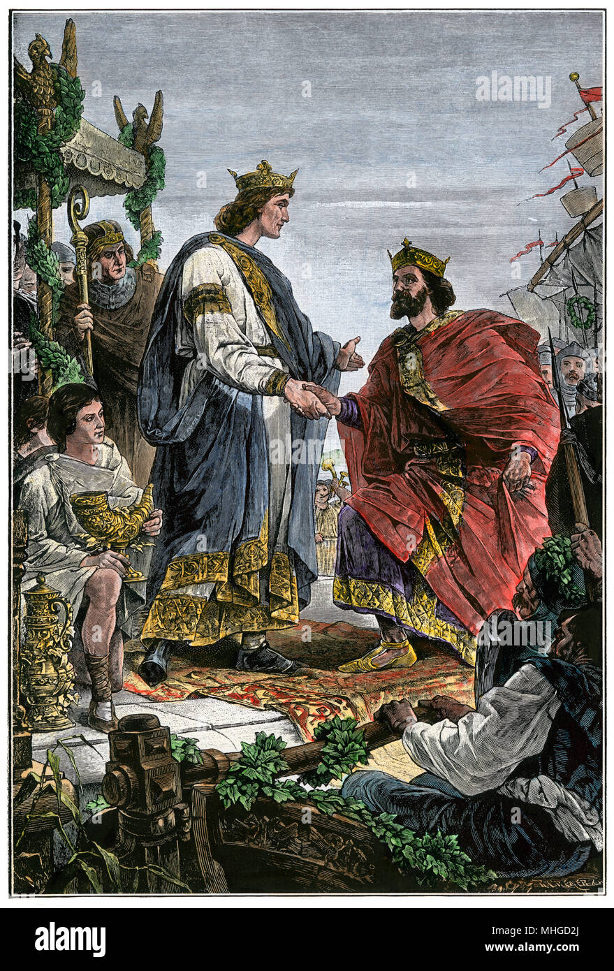 Henry I (the Fowler) meeting with Charles III (the Simple). Hand-colored woodcut - Stock Image
