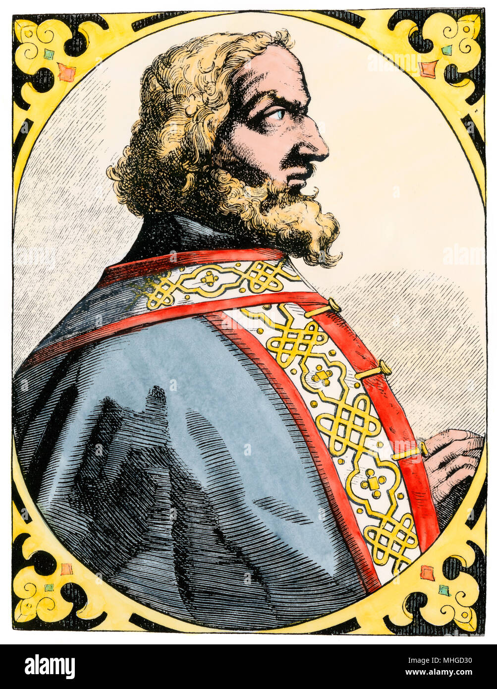 Charlemagne, called the King with the Grizzly Beard in the Song of Roland. Hand-colored woodcut - Stock Image